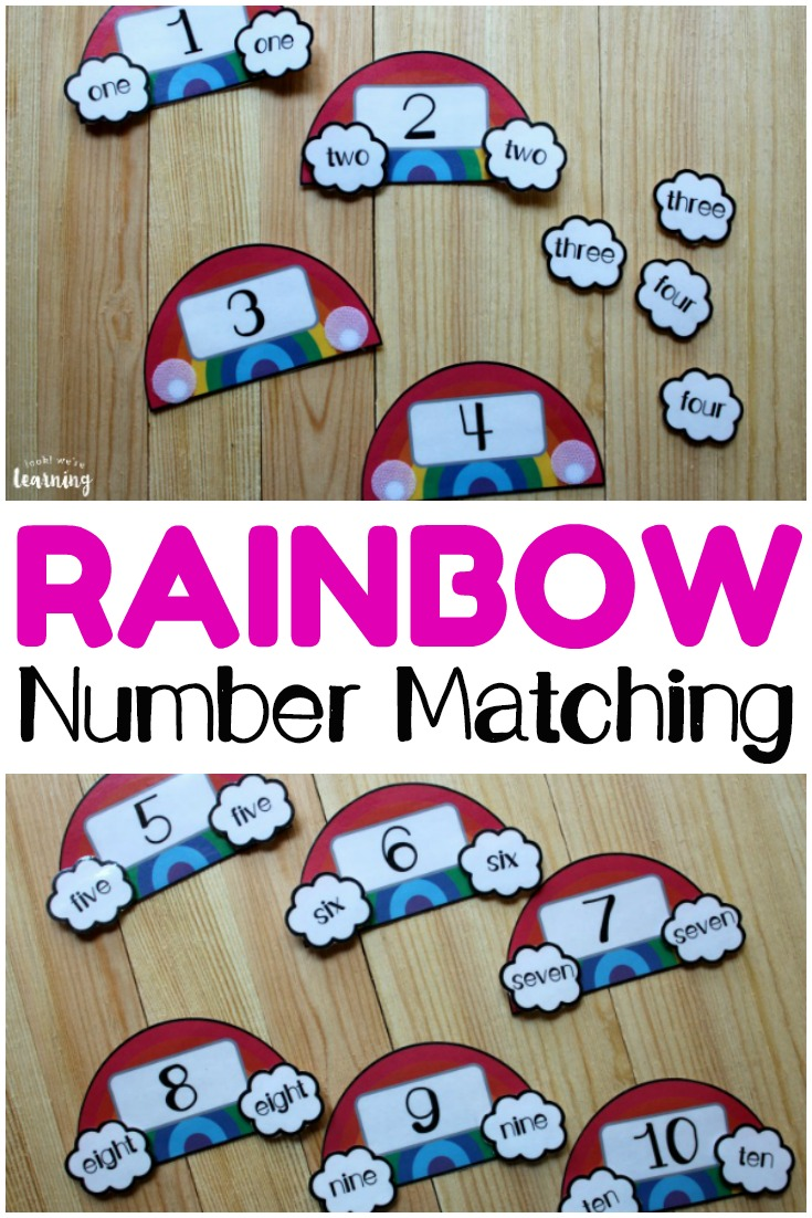 This printable rainbow number word puzzles set is so fun for helping early learners recognize numerals and number words!