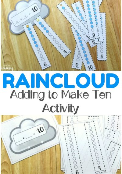 Work on adding to ten with your early learners with this fun raincloud make ten activity! This is awesome for spring math centers!
