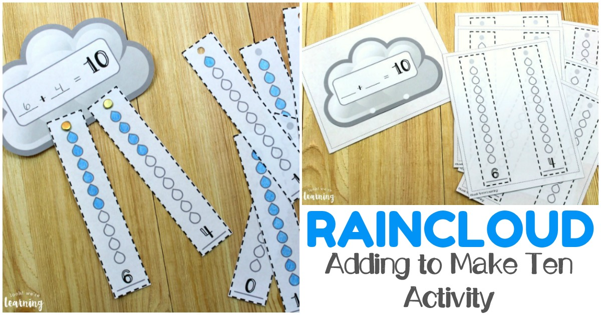Work on basic addition skills with this fun raincloud themed printable make ten activity!