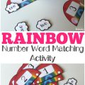 Work on math skills with this fun rainbow number word matching activity for kids!