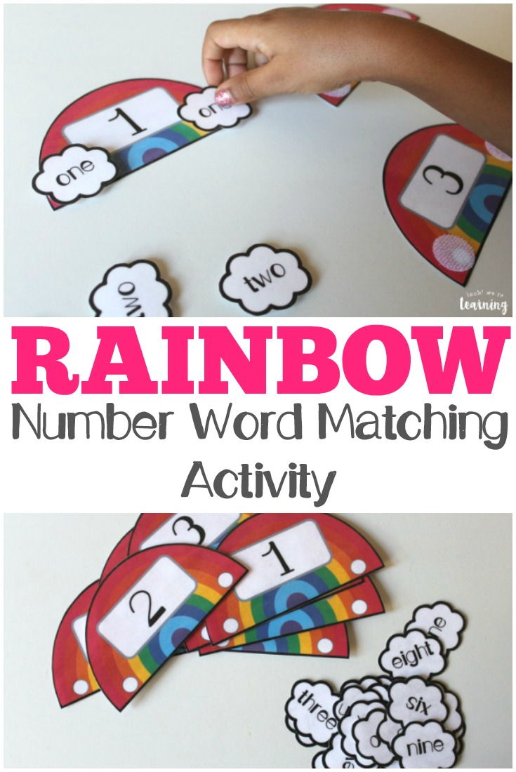Rainbow Number Word Matching Activity - Look! We\'re Learning!