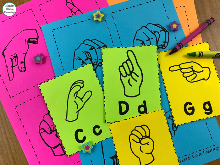 Line Art Sign Language Alphabet Cards