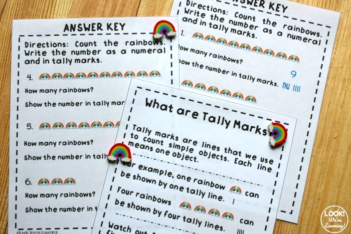 Rainbow Tally Mark Worksheets for Kids