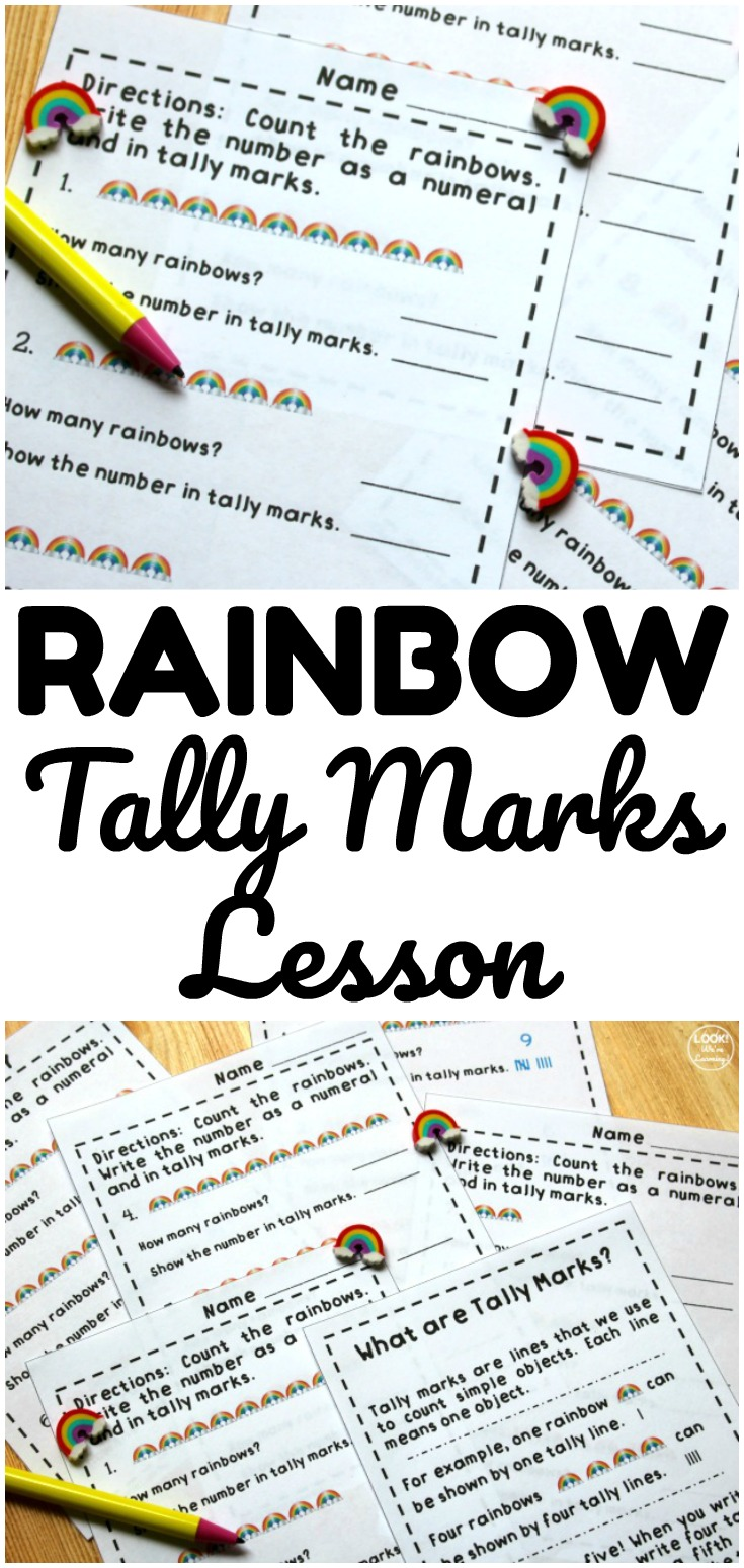 These rainbow tally marks worksheets make it easy to teach early learners how to count with tally marks! Laminate the pages and use them at math centers!