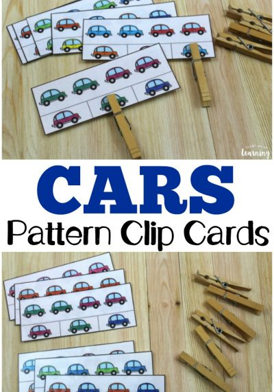 These colorful car color pattern clip cards are so fun for teaching young learners to recognize basic patterns!