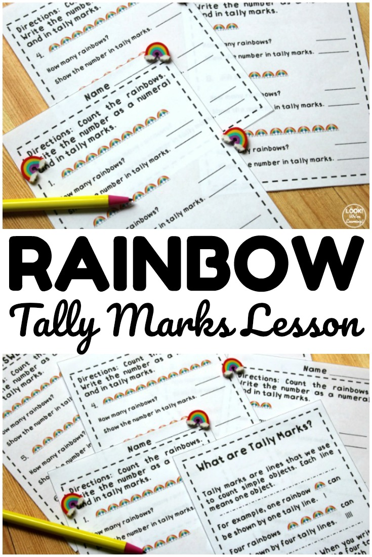 This printable rainbow tally marks lesson for early learners is a great way to teach students how to count with tally marks!