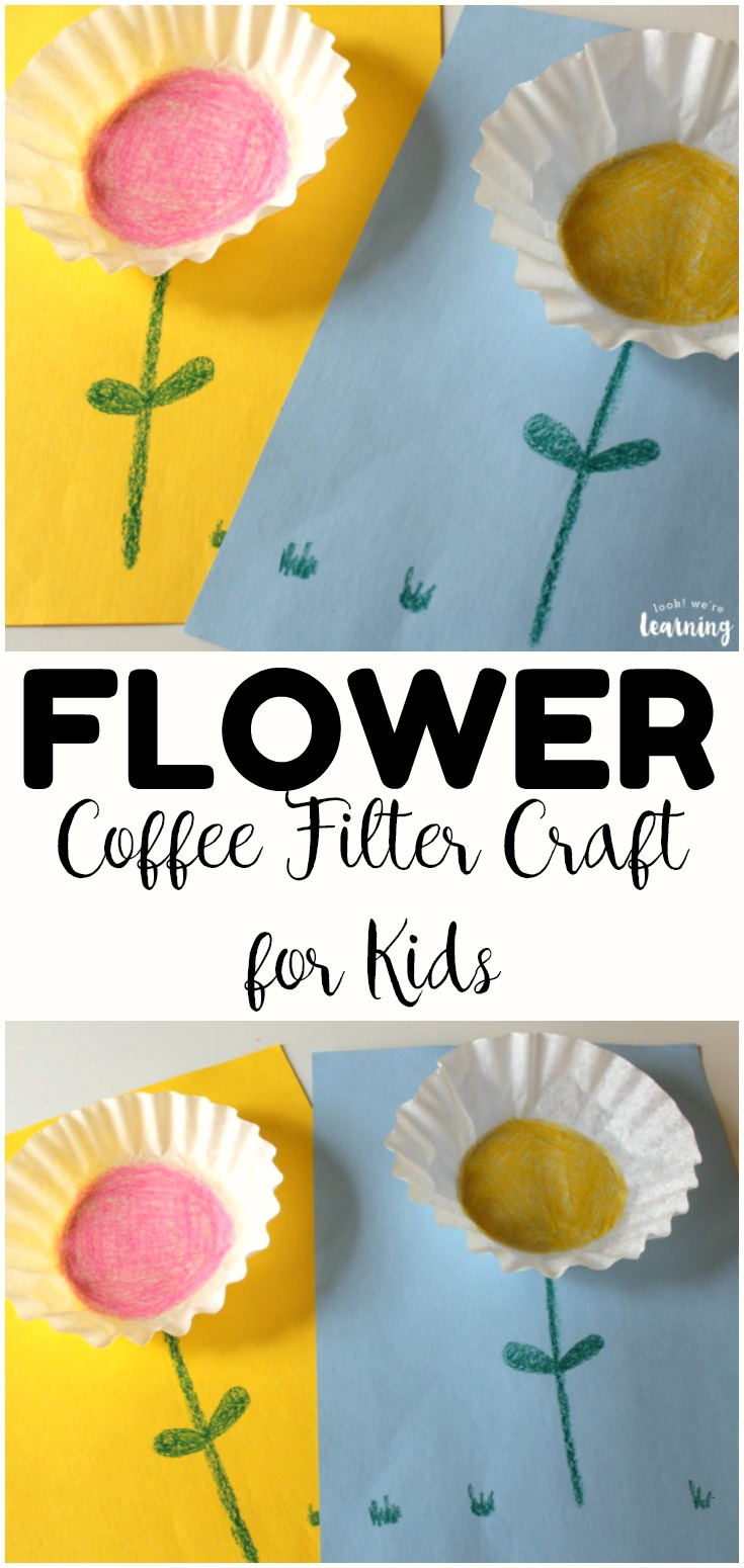 This super easy coffee filter flower craft is a fun spring art project to share with the kids! Only takes a few minutes too!