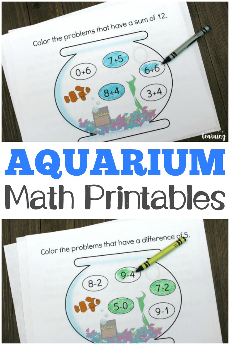 Help kids practice adding and subtracting with these aquarium-themed arithmetic practice printables!