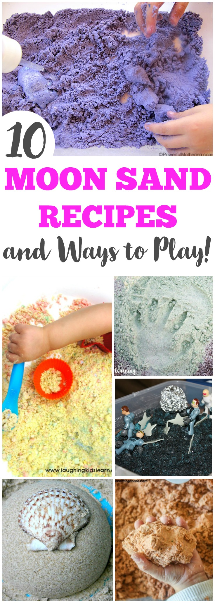 Let the kids have some simple sensory fun with these cool moon sand recipe ideas!