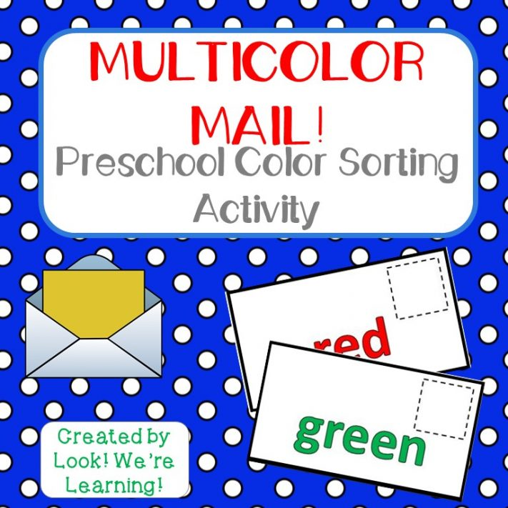 Preschool Mail Color Sorting Activity