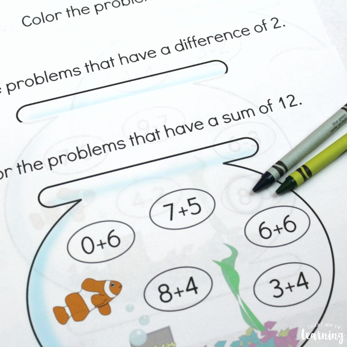Printable Aquarium Addition and Subtraction Practice