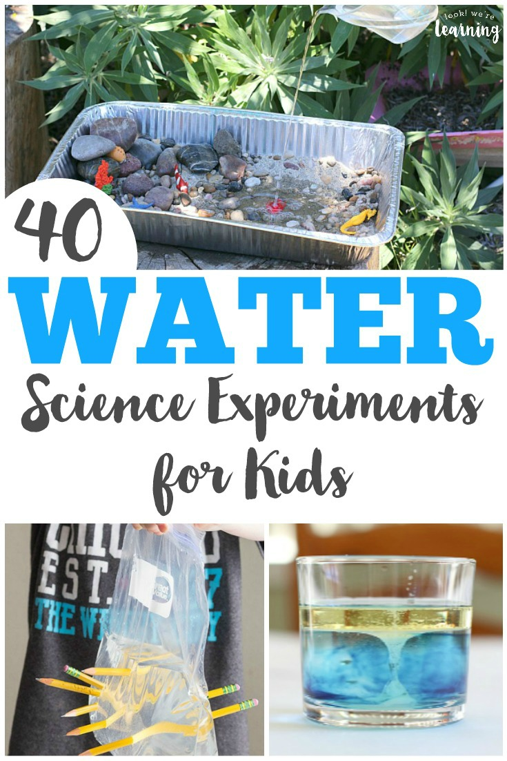 These 40 simple water science experiments for kids are easy to set up and fun for learning about science! Try them indoors or outdoors!