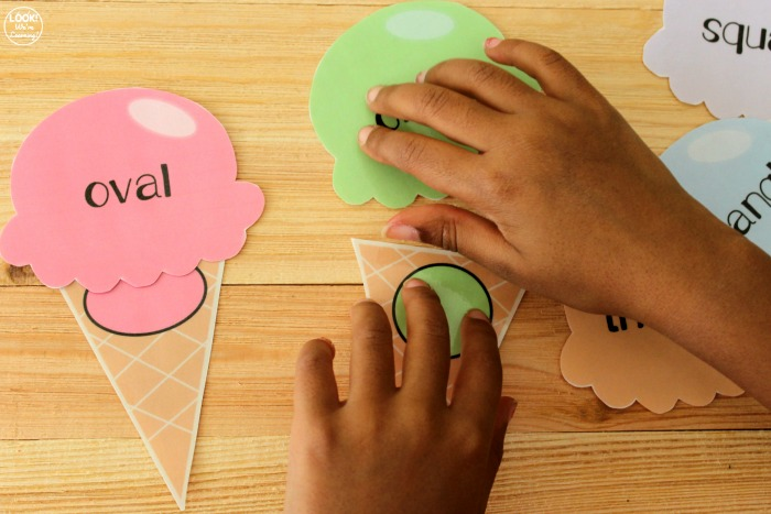 Easy Ice Cream Shape Sorting Activity