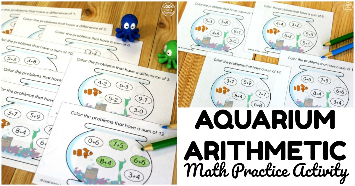 Fun Aquarium Arithmetic Math Practice Activity