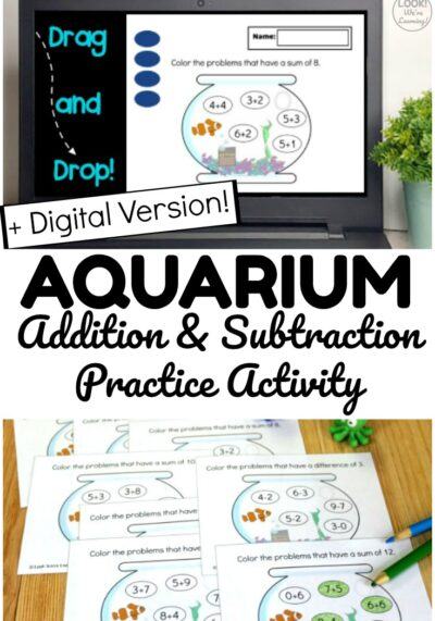 Grab this printable Aquarium Arithmetic math practice activity and get a digital version to use online too! Great for helping students practice adding and subtracting in class or at home!