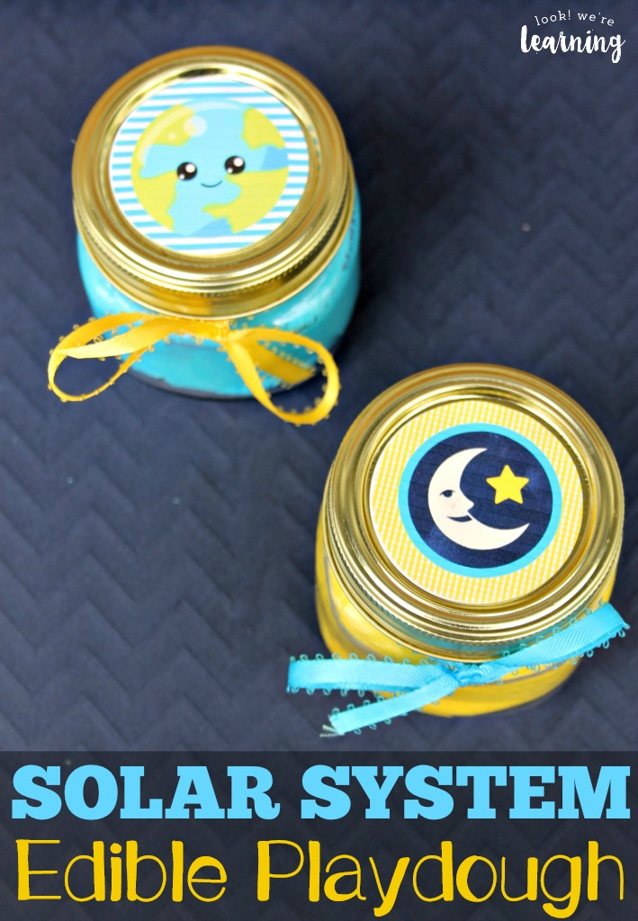 This fun solar system-themed edible playdough is a perfect sensory activity for kids! Make a batch or two for some outer space sensory fun!