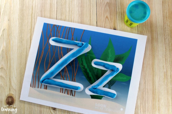 Ocean Alphabet A to Z Playdough Mats