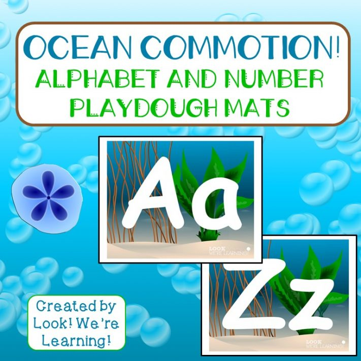 Ocean Alphabet and Number Playdough Mats