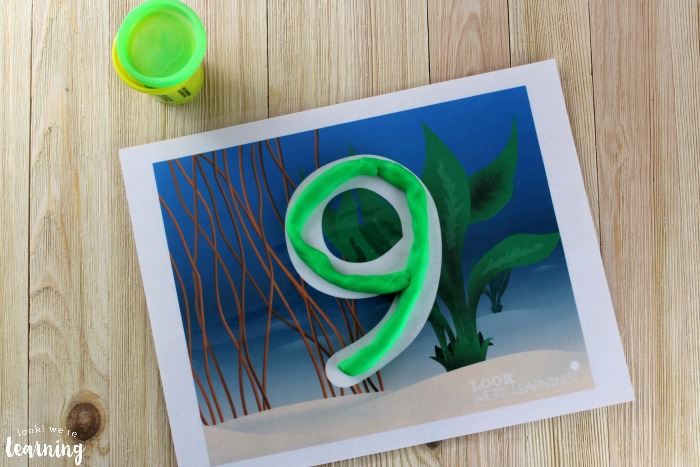 Ocean Number Playdough Mats for Kids