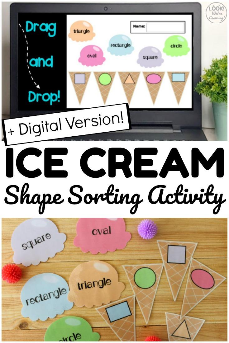 Pick up the print or digital version of this ice cream shape sorting activity for students to use in class or at home!