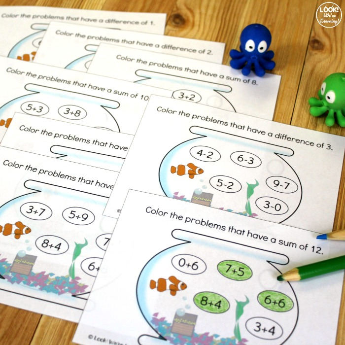 Printable Aquarium Add and Subtract Practice for Kids