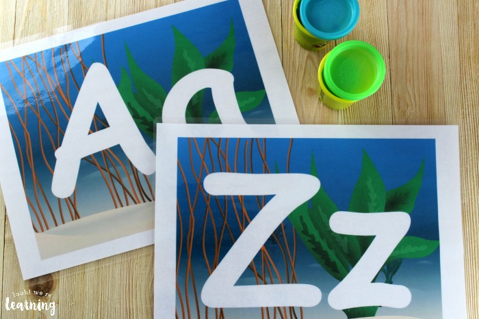 Printable Ocean Alphabet Playdough Mats