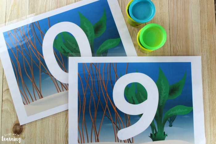 Printable Ocean Number Playdough Mats