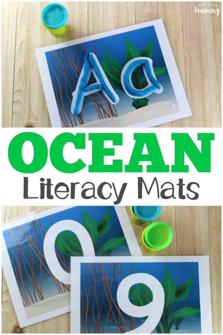 These fun ocean playdough mats are great for practicing literacy and fine motor skills!