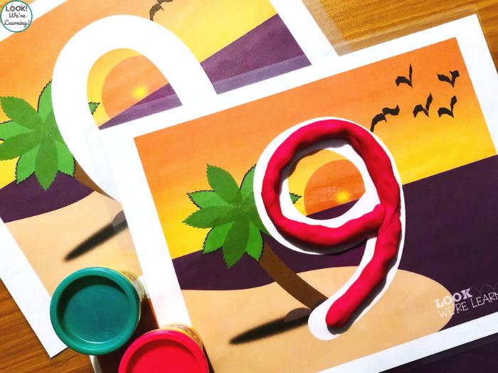 Beach Number Literacy Mats for Preschool