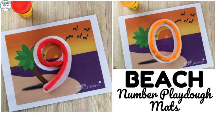 Fun Preschool Beach Number Literacy Mats