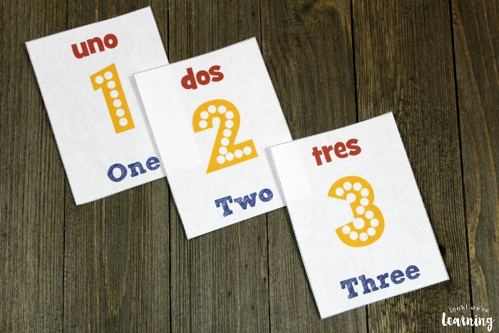 Printable English to Spanish Number Flashcards