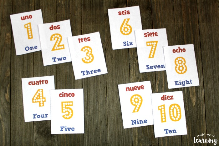 Printable Spanish Number Flashcards for Kids