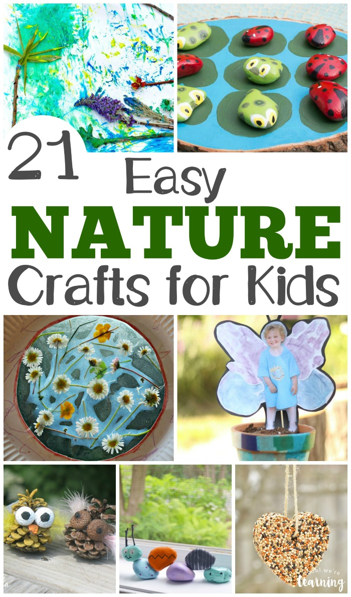 Share some outdoor crafting fun with this list of 21 easy nature crafts for kids to make!