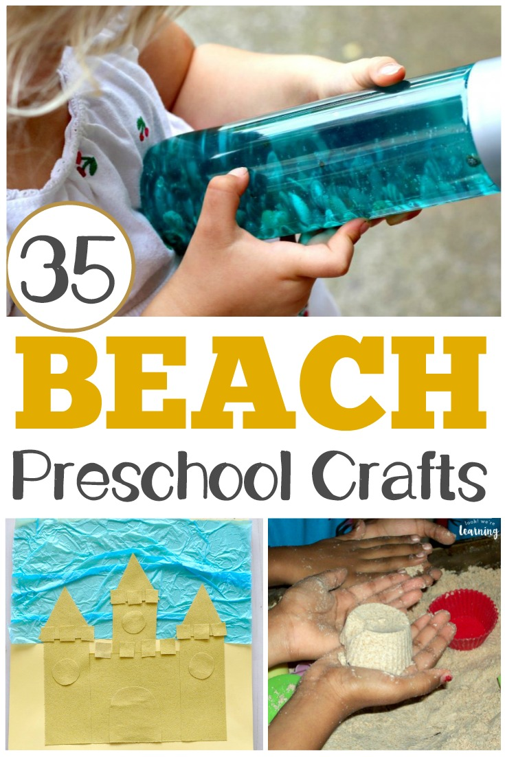 These easy PreK beach crafts are perfect for summer art fun! Choose a few to make with your preschooler this summer for some simple arts and crafts!