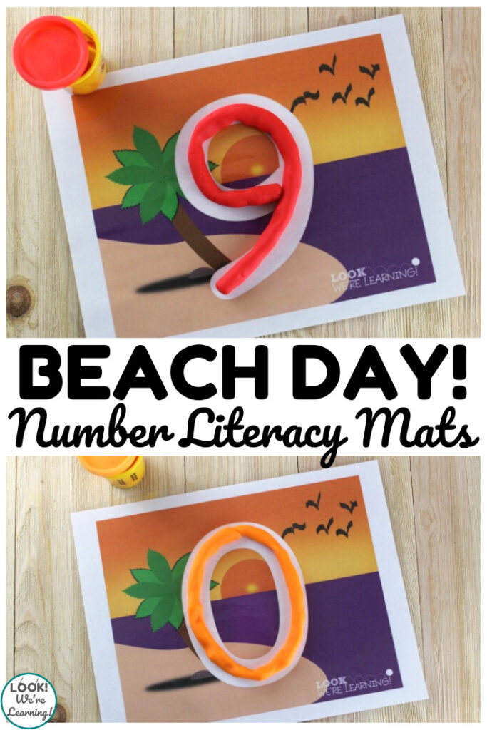 These printable beach number literacy mats are perfect for toddlers, preschoolers, and kindergartners!