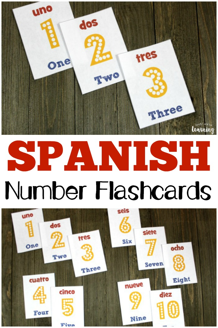 graphic about Free Printable Numbers 1 10 known as Spanish Range Flashcards 1-10 - Feel! Were being Mastering!