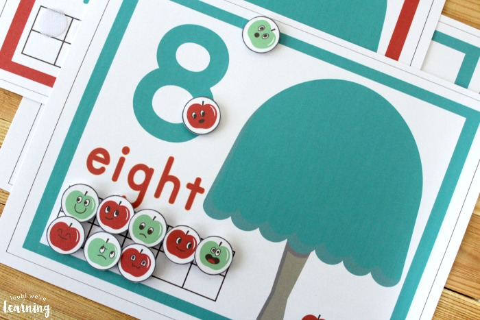 Apple Tree Ten Frame Counting Mats for Kids