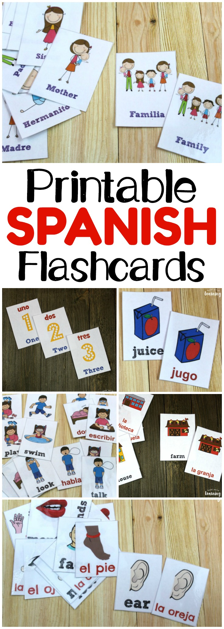 Boost your child's Spanish vocabulary skills with these printable Spanish flashcards! 20 sets to choose from with more to come!