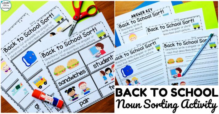 Fun Back to School Noun Sorting Activity for Kids