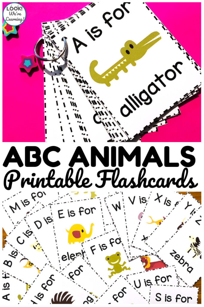 Help early learners to recognize letters and letter sounds with these Alphabet Animal Flashcards!