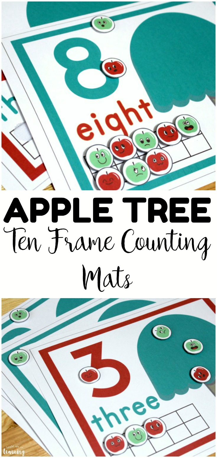 Make counting to ten a fun hands-on activity for early learners with these apple tree ten frame counting mats! Perfect for fall math centers!
