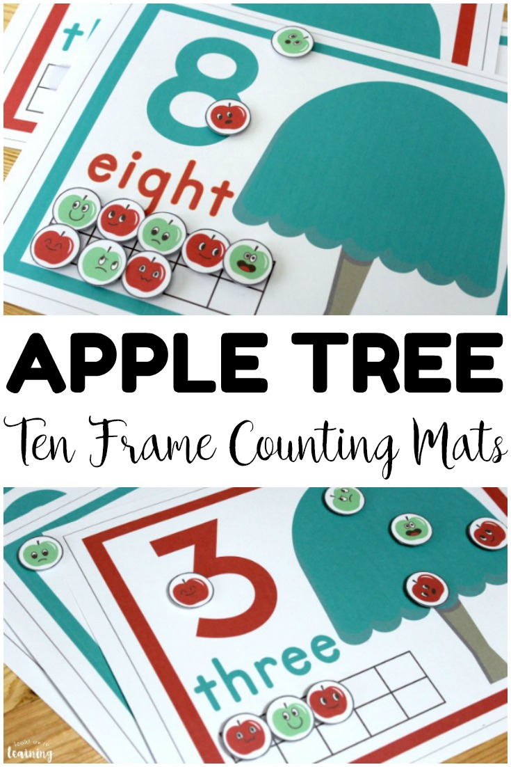 These apple tree ten frame counting mats are so fun for early fall math centers! Makes a great morning tub math activity too!