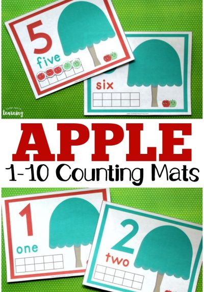 These printable apple tree counting mats are such a fun way to help preschoolers learn to make ten! These would be great for counting, addition, subtraction, or ten frames practice!
