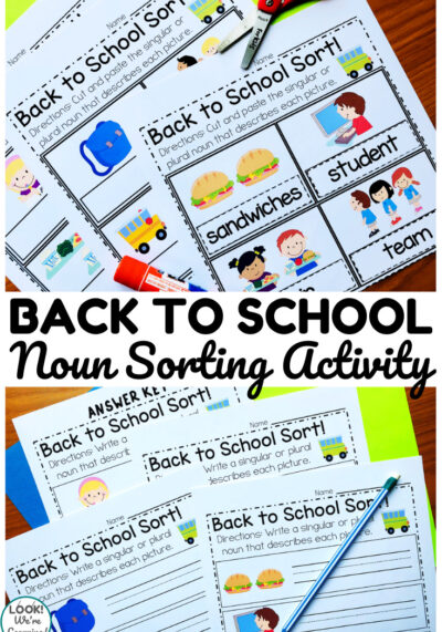 Printed back to school themed noun sorting worksheets with scissors and a pencil