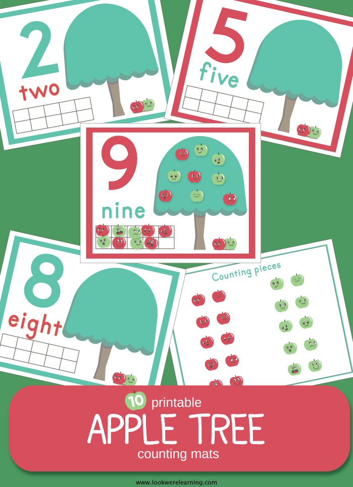 Printable Apple Tree Counting Mats for 1-10