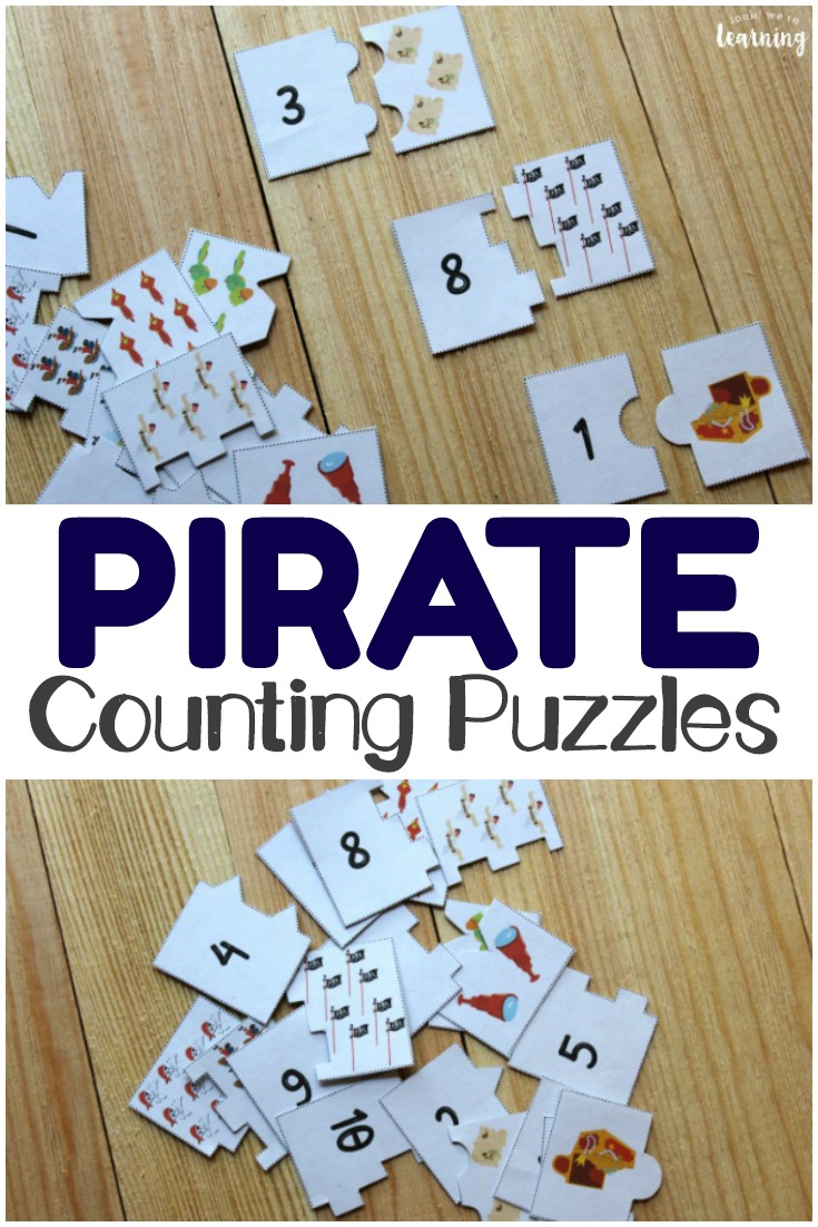 Early learners will love learning to count with these fun pirate printable counting puzzles for numbers 1-10!