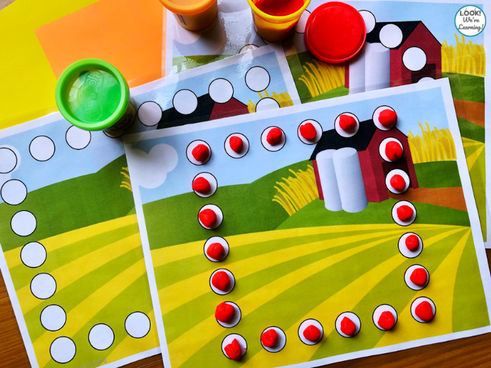 Easy Farm Themed Shape Learning Mats for Kids