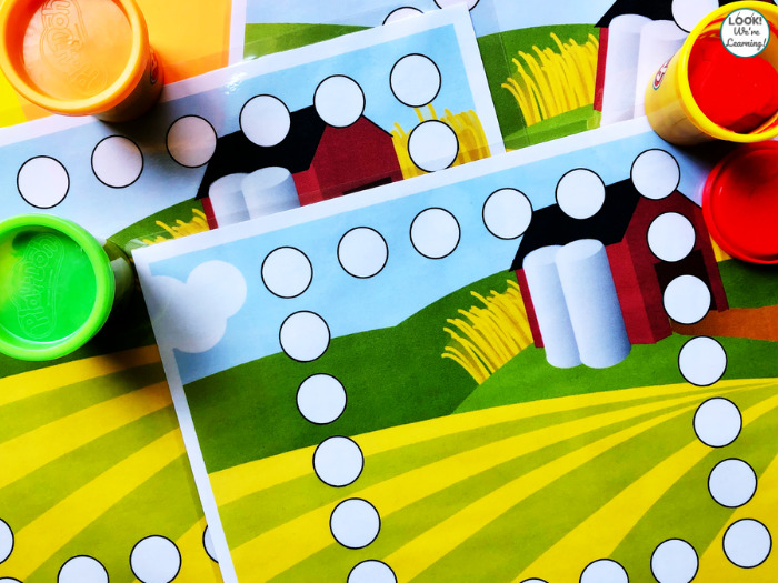 Fun Farm Playdough Shape Mats for Preschool