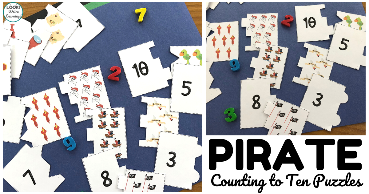 Fun Pirate Counting to Ten Puzzles