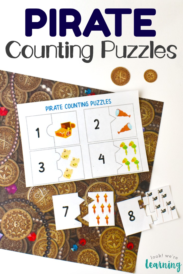 Grab these pirate themed printable counting puzzles for some fun early math practice!